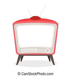 vector vintage tv red color isolated
