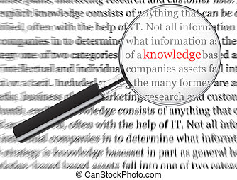 Knowledge - The word knowledge through a magnifying glass