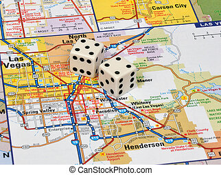 Vegas - Dice on a map of Las Vegas