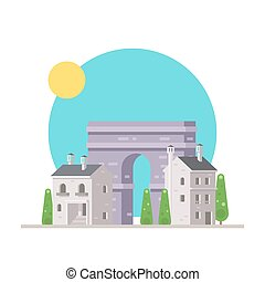 Flat design of Arc de Triomphe France with village...