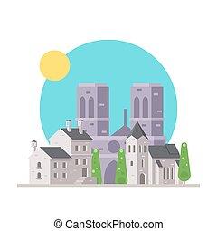 Flat design of Notre Dame France with village illustration...