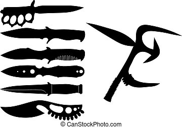 Set of black silhouettes of knives on a white background. Vector