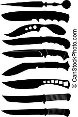 Set of black silhouettes of knives. Vector illustration