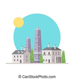 Flat design of Luxor obelisk France with village...