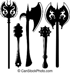 Set of silhouettes of weapons. Axes and maces. Vector...