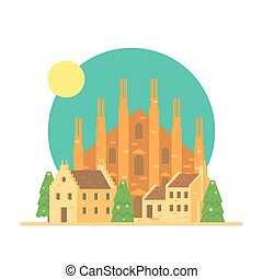Flat design of Duomo di Milano Italy with village...