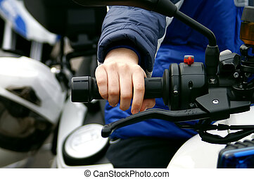 Throttle control - Hand of a child on a throttle control