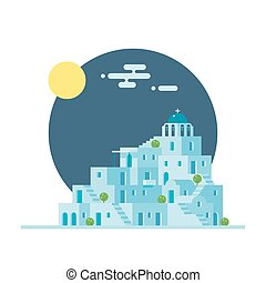 Flat design of Santorini Greece village illustration vector