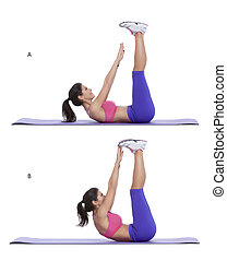 Raised-legs crunch - Step by step instructions for abs: Lie...