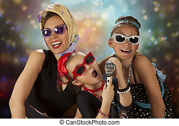 Poses With Vintage Microphone - Rockabilly woman with her...