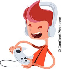 Playing the game vector illustration cartoon character