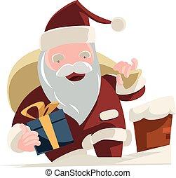 Santa bringing gifts vector illustration cartoon character