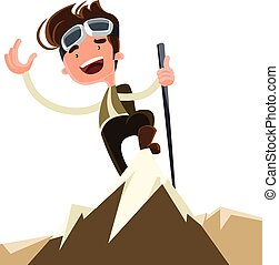 Conquer the mountain peak top vector illustration cartoon...