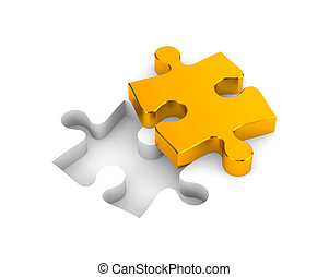 Gold puzzle - Business metaphor. Isolated on white