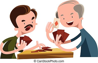 Vector Clip Art of Elderly people playing cards - A vector ...