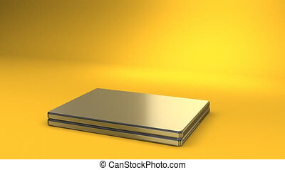 Laptop On Yellow Background 3D render Animation For Business...