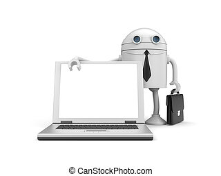 Robot businessman with computer - Business concept. Isolated...