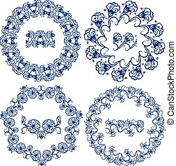 Set of blue floral circle frames Background in the style of...