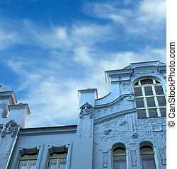 Jugendstil house in Prague - Blue Jugendstil building in the...