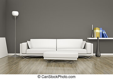 room and sofa - 3D rendering of a white room with a sofa
