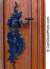 Detail of a medieval wooden door 3