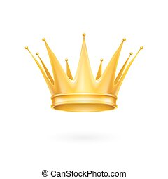 Gold crown - Royal golden crown isolated on a white...