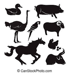 Vector farm animal set on white background,...