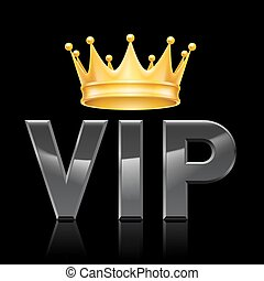 VIP Golden crown - Golden crown on the acronym VIP on a...