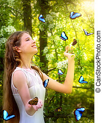 Girl with butterfly in summer forest.