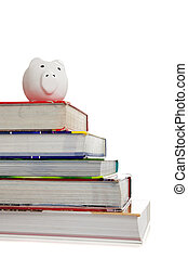 Stack of textbooks with a white piggy bank on white