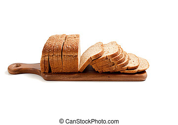 Loaf of bread on a bread board