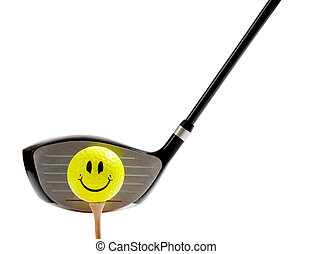 smiley face golf ball on a tee with a driver on white