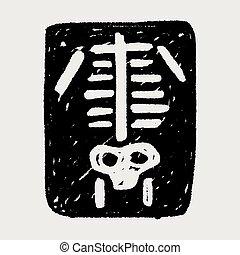 radiografía, garabato,