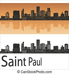 Saint Paul skyline in orange background in editable vector...