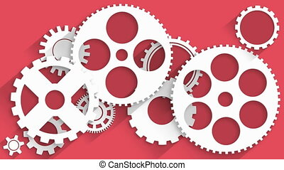 Animated white gears on red background 4K video