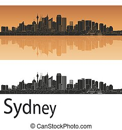 Sydney V2 skyline in orange background in editable vector...