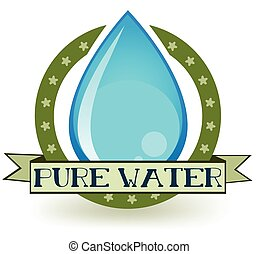 Pure Water - Water drop with a banner