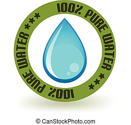 Pure Water Icon - One hundred percent pure water stamp