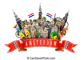 Amsterdam collage, cheese and Dutch houses with Souvenirs