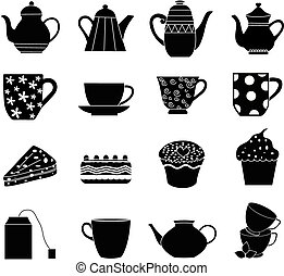 tea icons set in black