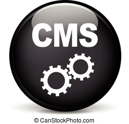 cms icon - Illustration of cms modern design black sphere...