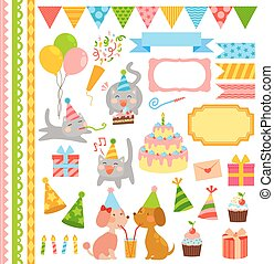 birthday elements - collection of birthday icons and design...
