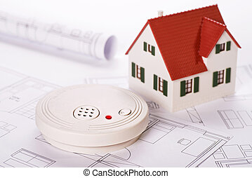 Safety by smoke detectors - Smoke detector with house and...