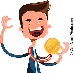 Gold medal joy winner vector illustration cartoon character