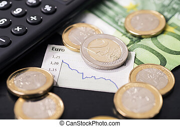 Low rate of the euro - A graphic shows the falling euro rate...