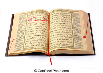 el, santo, Corán, abierto, aislado, blanco, Plano de fondo
