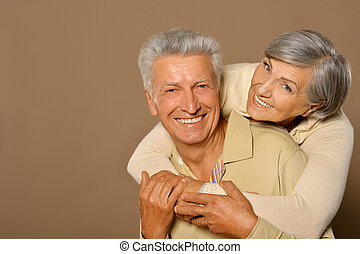 smiling old couple - Portrait of amusing happy smiling old...