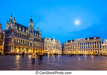 Grand Place Brussels, Belgium at dusk