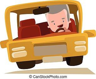 爺爺, 開車, a, car, ,