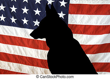 German Shepherd Silhouette on a US Flag - A German Shepherd...